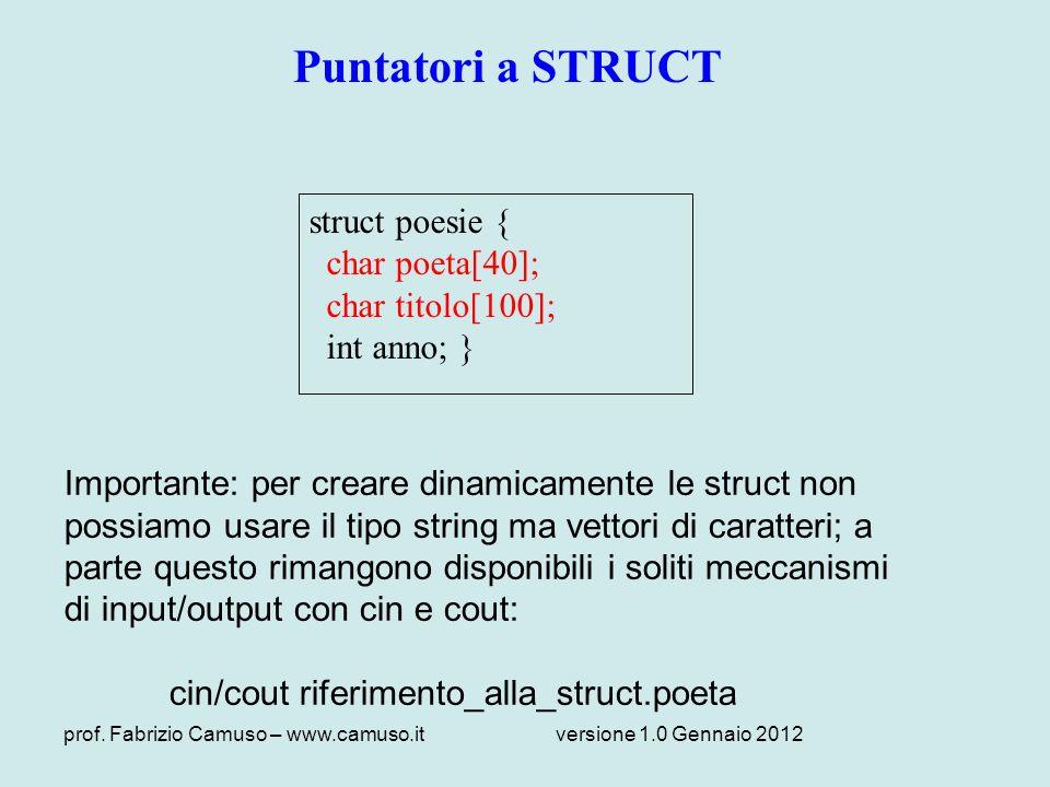 Puntatori a STRUCT struct poesie { char poeta[40]; char titolo[100];